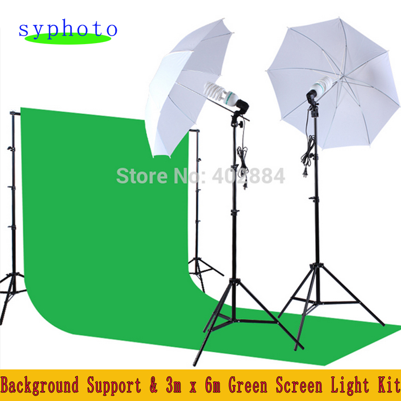 bilder für Freies Steuer Nach Russland Neue Fotostudio Zubehör Hintergrund Support & 3 mt x 6 mt Green Screen Licht Kit Fotolampen
