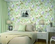 beibehang papel de parede Romantic garden flowers non-woven plain paper bedroom background wallpaper hudas beauty duvar kagit