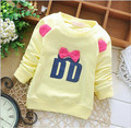 Child Girls Sweatshirts Autumn Solid Color Cute Bow Print Letters Kid Hoody 5 Candy Colors Children T shirt Tops KT045