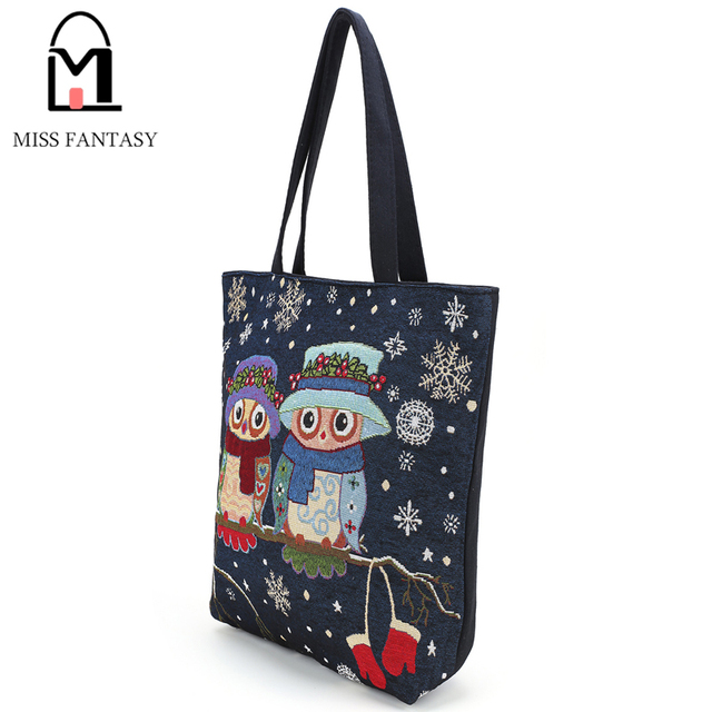 Wind Owl Printed Canvas Handbag