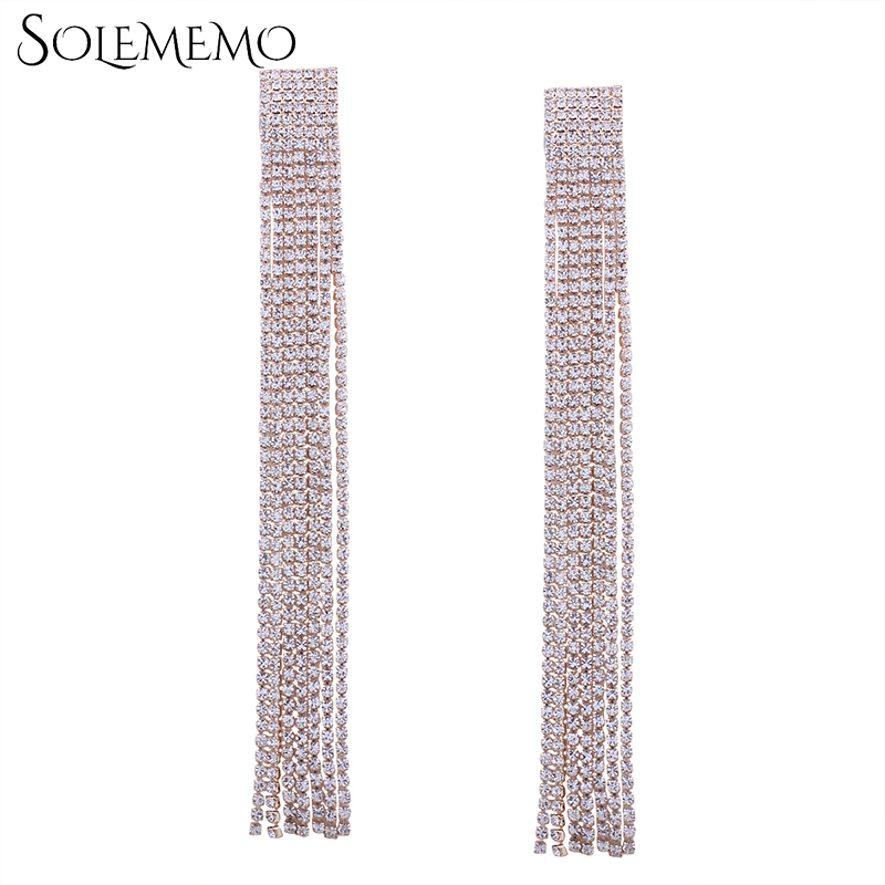 Solememo Paved Rhinestone Super Long Tassel Earrings Gold Tassel Earrings for Women Female Fashion Jewelry Earrings 2017 E1432