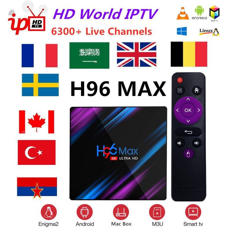 Boîtier TV intelligent IPTV + H96 Max Rockchip RK3318 4 K HD USB3.0 H.265 Google Play IP OnlineTV décodeur 2.4G & 5G Wifi BT4.0 lecteur multimédia
