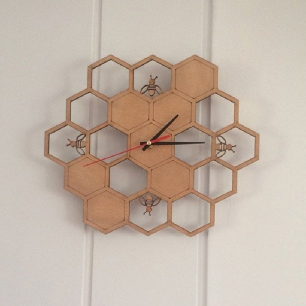 Creative bamboo/wood bee wall clock garden Honeycomb Natural Wooden decoration wall hanging table clocks quartz clock