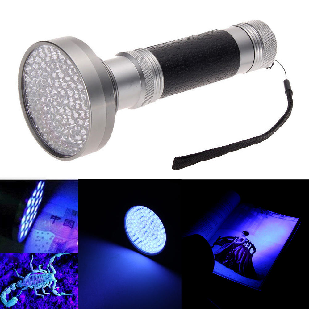 Portable 100 LED UV Blacklight Scorpion 395-400nm Flashlight Detection <font><b>Light</b></font> Outdoor Waterproof