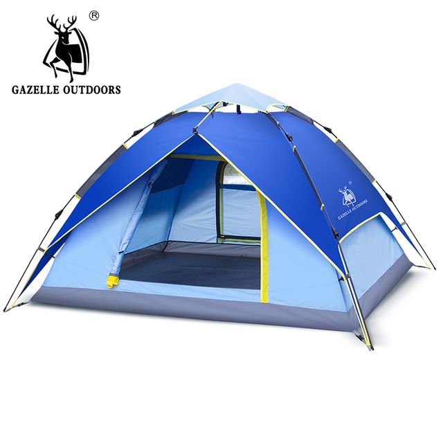 Hydraulic Automatic Windproof Waterproof Double Layer Tent 3-4 person Tents Ultralight Outdoor Hiking C&ing  sc 1 st  AliExpress.com & Hydraulic Automatic Windproof Waterproof Double Layer Tent 3 4 ...