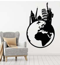 Виниловая настенная аппликация для путешествий по миру, Эйфелева башня, Статуя Свободы, Биг Бен, художественная наклейка, роспись, гостиная, спальня, домашний декор 2DT3