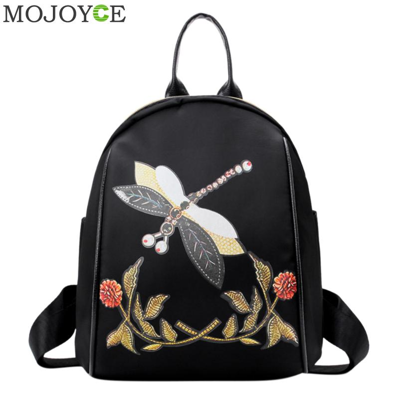 Dragonfly Embroidery Backpack Vintage Backpack Women Zipper Casual Shoulder Bag Fashion School Bags for Teenager Girls Rucksacks