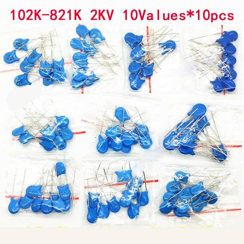 100PCS/lot 2KV High Voltage Ceramic Capacitor Assortment Kit 2KV 102K 221K 332K 471K 472K 561K 681K 821K Ceramic Capacitors Set