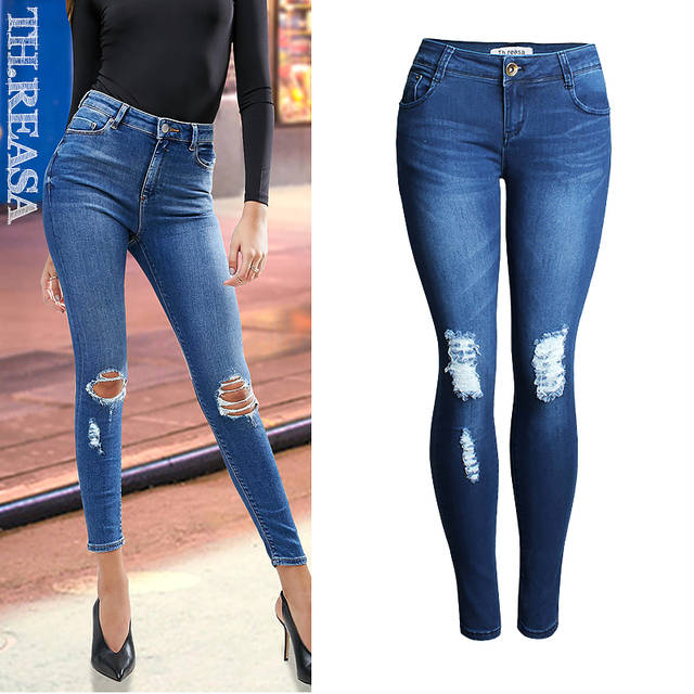 eb1fd09fe2 Womens Ladies Stretch Faded Ripped Slim Fit Skinny Jeans High Waist Jeans  Women Denim Pants Holes Destroyed Knee Pencil Pants