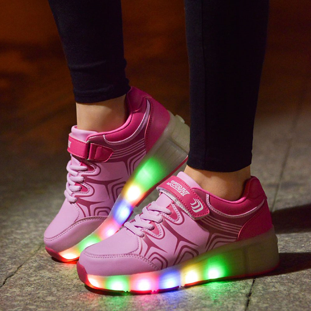 watch 22eef d75fb Kids Shoes with LED Light up Children Roller Shoes Heelys with Wheels Kids  Shoes Sneakers for Boys Girls chaussure enfant garcon-in Sneakers from  Mother ...