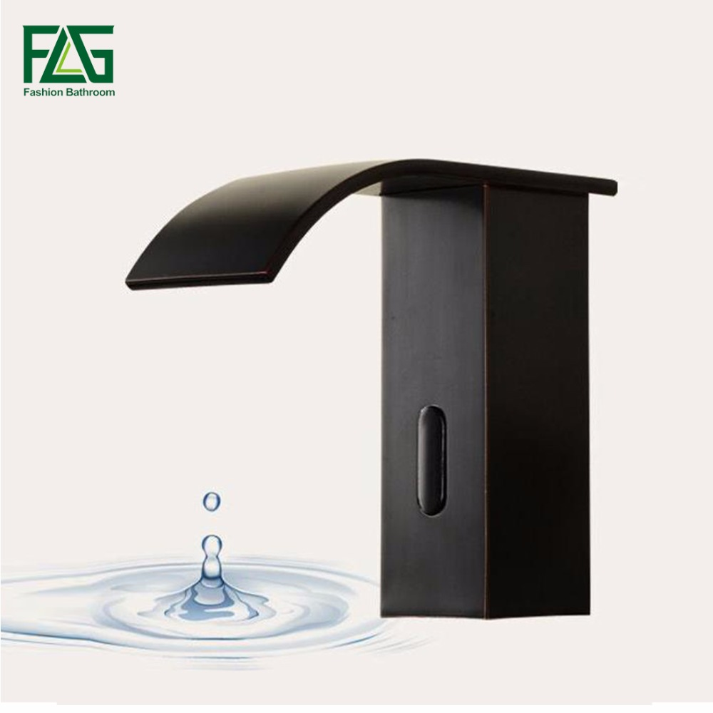 FLG Basin Faucet AC/DC Battery Power Water Saving Cold Automatic Hands Touch Sensor Faucet Waterfall Bathroom Sink Tap fapully bathroom waterfall basin faucet deck mounted automatic hands touch sensor water faucet waterfall sink tap