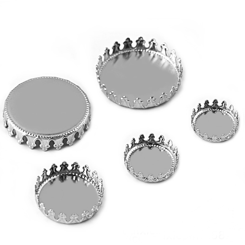 Stainless Steel Round Bezel 12mm 15mm 20mm Glass Cameo