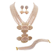 Fashion Beige Multi Strands Statement Necklace Nigerian Wedding African Beads Jewelry Set Crystal 5 LDH25