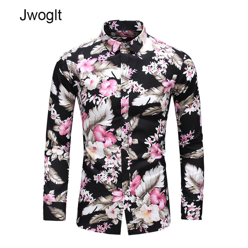 45KG-120KG Harajuku Style Men's Flower Printed Casual Button Down Long Sleeve Hawaii Shirt 5XL 6XL 7XL