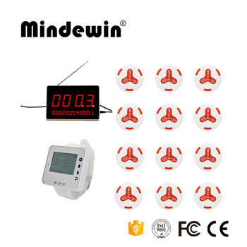 Mindewin Wireless Supermarket Bank Service Paging Calling System,1 Watch Receiver,12 Bells Button And 1 LED Display Rece