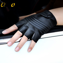 2019 New Style Mens Leather Driving Gloves Fitness Half Finger Tactical Black Guantes Luva