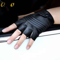 2019 New Style Mens Leather Driving Gloves Fitness Gloves Half Finger Tactical Gloves Black Guantes Luva