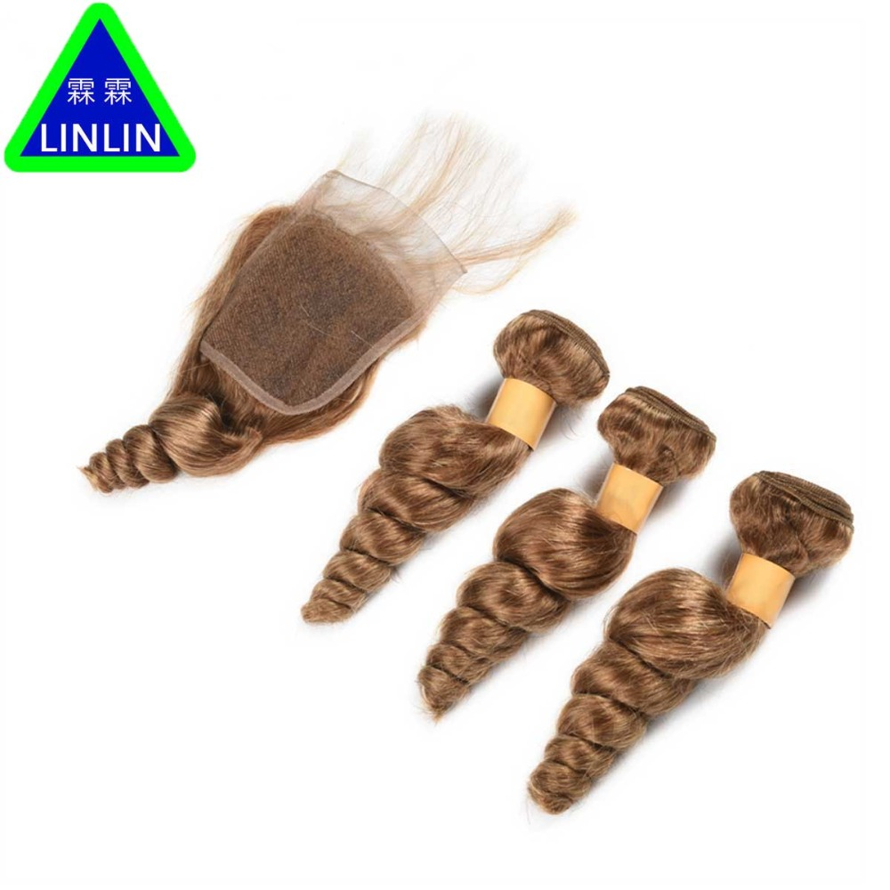 LINLIN Indian Hair Weave Bundles Loose Wave 3 Bundles With Lace Closure 4 Pcs/Lot Deal #27 Human Hair Bundles Hair Rollers бразильское curly wave closure 4x4 virgin human hair deep wave curly lace closure bleahced knots free middle 3 part top closure