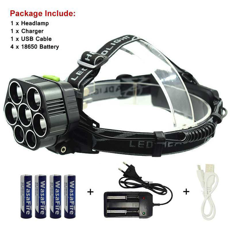 T6 Head Torch Led Headlight 6 Mode Forehead Headlamp 7 Led Head Flashlight With 18650 Battery + Charger For Camping Hunting