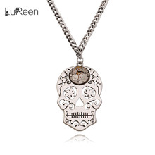 LuReen Vintage Skull Head Pendant Necklaces Men Steampunk Watch Parts Gear Movements Necklace Long Chains Women Jewelry LN0243