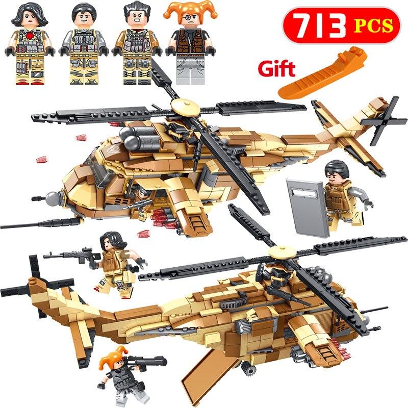 Nouvelles troupes spéciales de la série militaire chaude, l'hélicoptère militaire, Compatible avec les figurines d'action classiques, jouets pour enfants