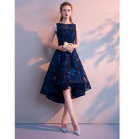FOLOBE Elegant navy blue women high low dresses floral solid dresses Sexy party party female vestidos 2018