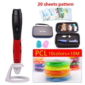 USB 3D pluma utiliza PCL respetuoso del medio ambiente filamento más seguro en temperaturas más bajas con un hermoso bolso de el mejor regalo de Navidad