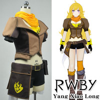 RWBY Yang Xiao Long Dress Cosplay Costume Yellow Scarf+Tube Top+Coat+Shorts+Belt+Waist Bag+Gloves+Socks+Puttee Girl Party Dress