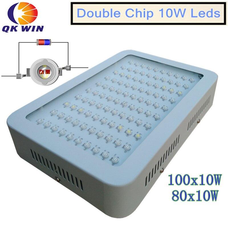 Stock en russie et en France 1000 W LED élèvent la lumière 100x10 W avec la double puce 10 W puce LED s LED à spectre complet élèvent la lumière