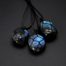 Natural Labradorite Stone Energy Pendant Necklace