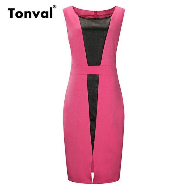 608afd3009cf8f Tonval 5XL 6XL Plus Size Office Dress Women Summer Bodycon Leather Dress  Work Elegant Sleeveless Big Size Pencil Dresses