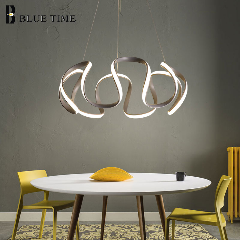 Niebieski czas szary korpus nowoczesne oświetlenie ledowe żyrandol do jadalni salon sypialnia moda LED żyrandol wyposażenie domu