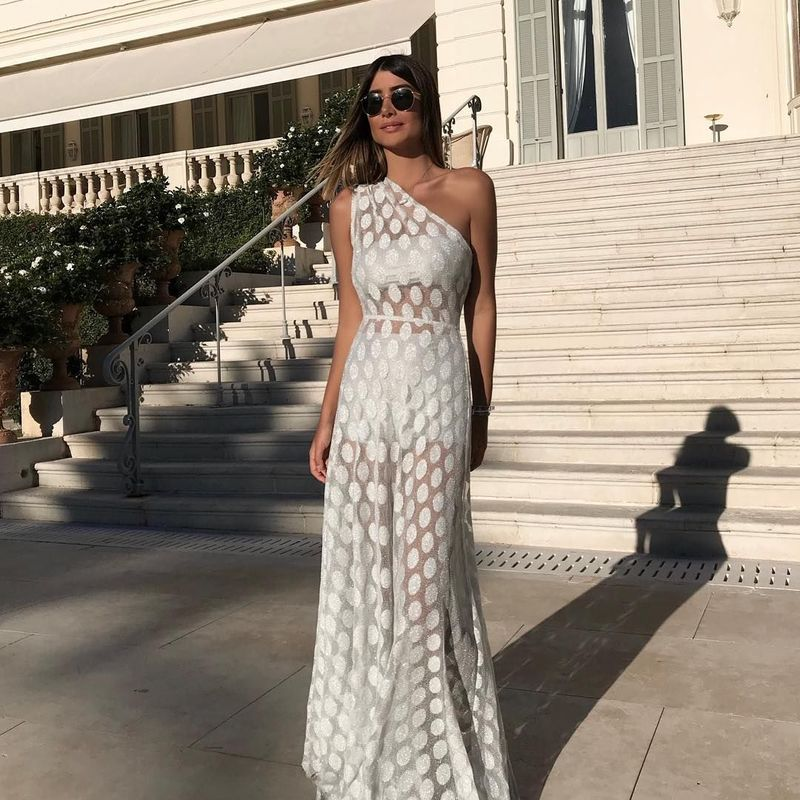 Maxi Long White Boho Chic Woman sexy Perspective Dress 4