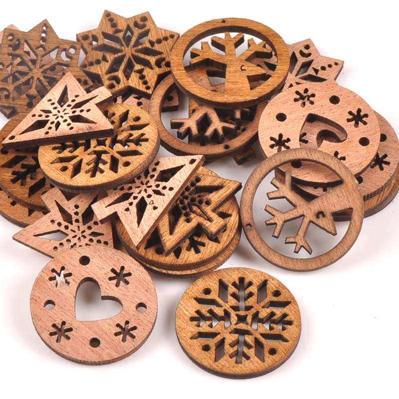 25pcs Tree/snowflake/heart Christmas Wood Decoration Scrapbooking 30mm Wooden Craft Supplies Handmade Accessories M1678