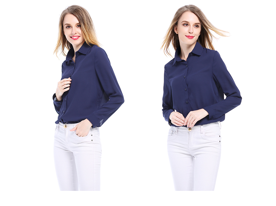 Women's Classic Shirt Chiffon Blouse Loose Long Sleeve Casual Shirts Lady Simple Style Tops 37