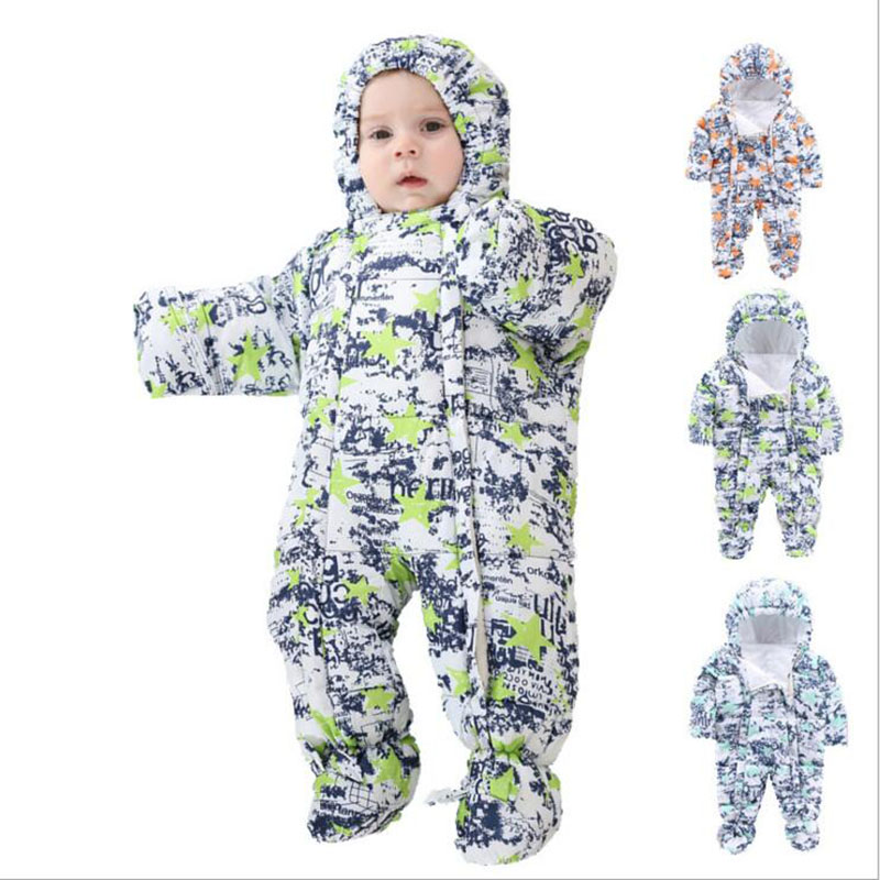 0-24M Baby Rompers 2017 Winter Kids Boys Girls Clothing Infant Costume Warm Jumpsuit