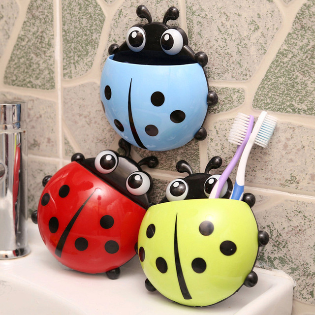 Lovely Ladybug Toothbrush Rack Wall Suction Holder Cartoon Sucker Toothbrush Case Bathroom Sets Accessrioes