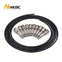 ALLMusic DIY Guitar Solder free Pedal Patch Cable Board Copper Cable Kit Set 10ft 10 Strait Audio Solderless 6.35 Mono Plugs
