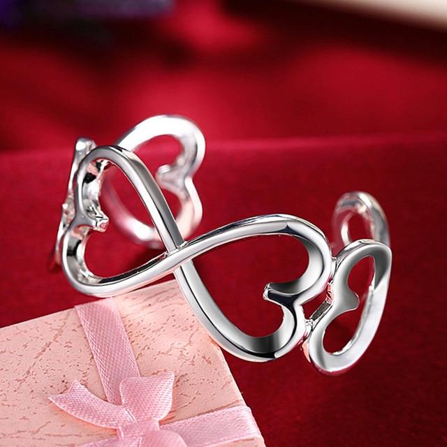 Silver 925 Heart Bangles For Women Romantic Open Bangle Bracelet Fashion Jewelry Wide Cuff Wristband by Doteffil