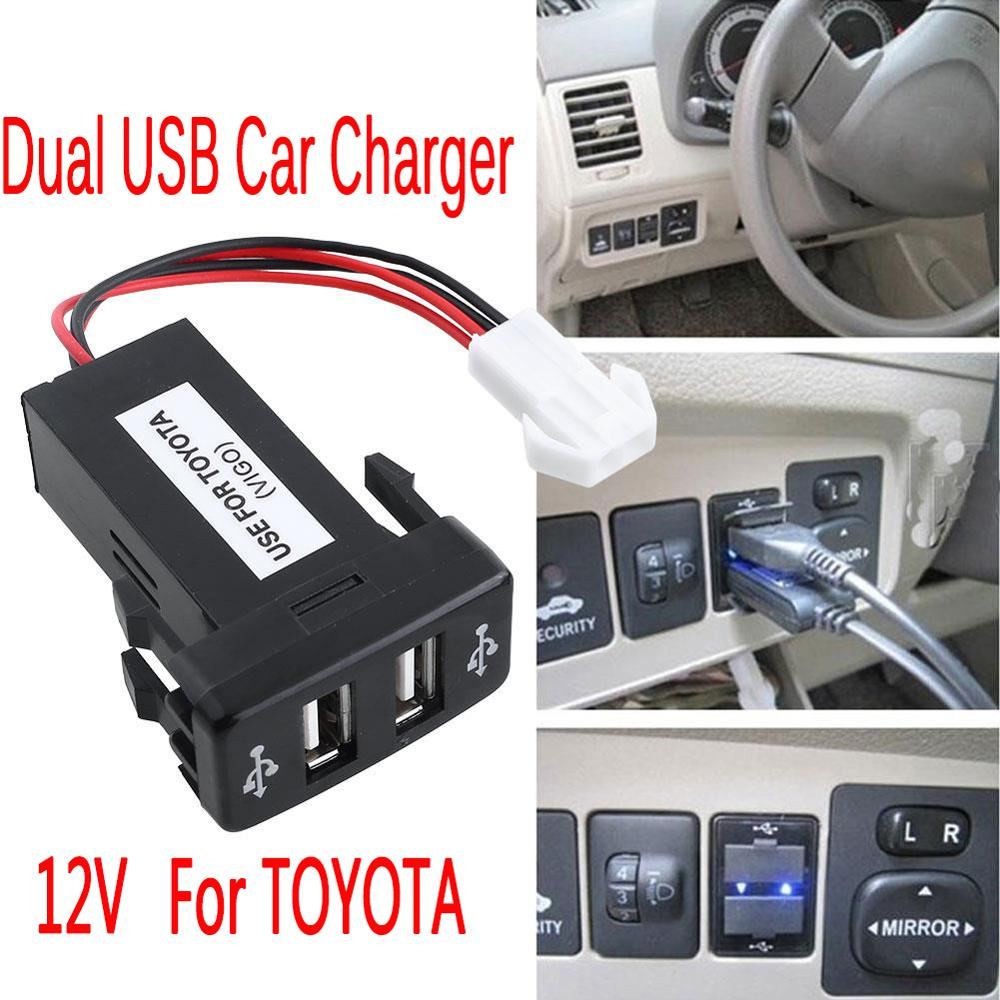 Für TOYOTA 12 V Dual <font><b>USB</b></font> <font><b>Auto</b></font> Ladegerät 2.1A 2 Port Interface <font><b>Auto</b></font> Power <font><b>Adapter</b></font> Dashboard Socket Schwarz <font><b>Auto</b></font> Modifikation access image