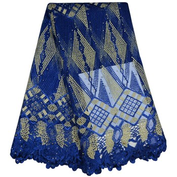 Royal Blue African French Lace Fabric High Quality Guipure Lace Fabric Stones Embroidered Tulle Lace Fabric For Wedding F672