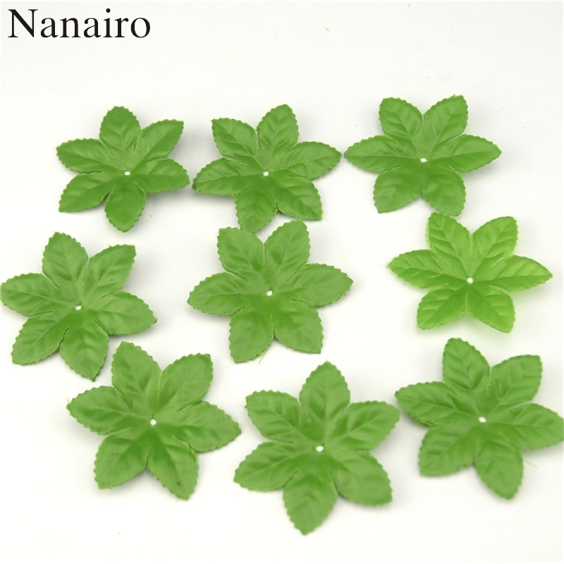 150pcs/lot  Artificial Silk Ribbon Leaf-shaped Mini Fake Green Leaves For Wedding Home Scrapbooking Christmas Tree Decoration