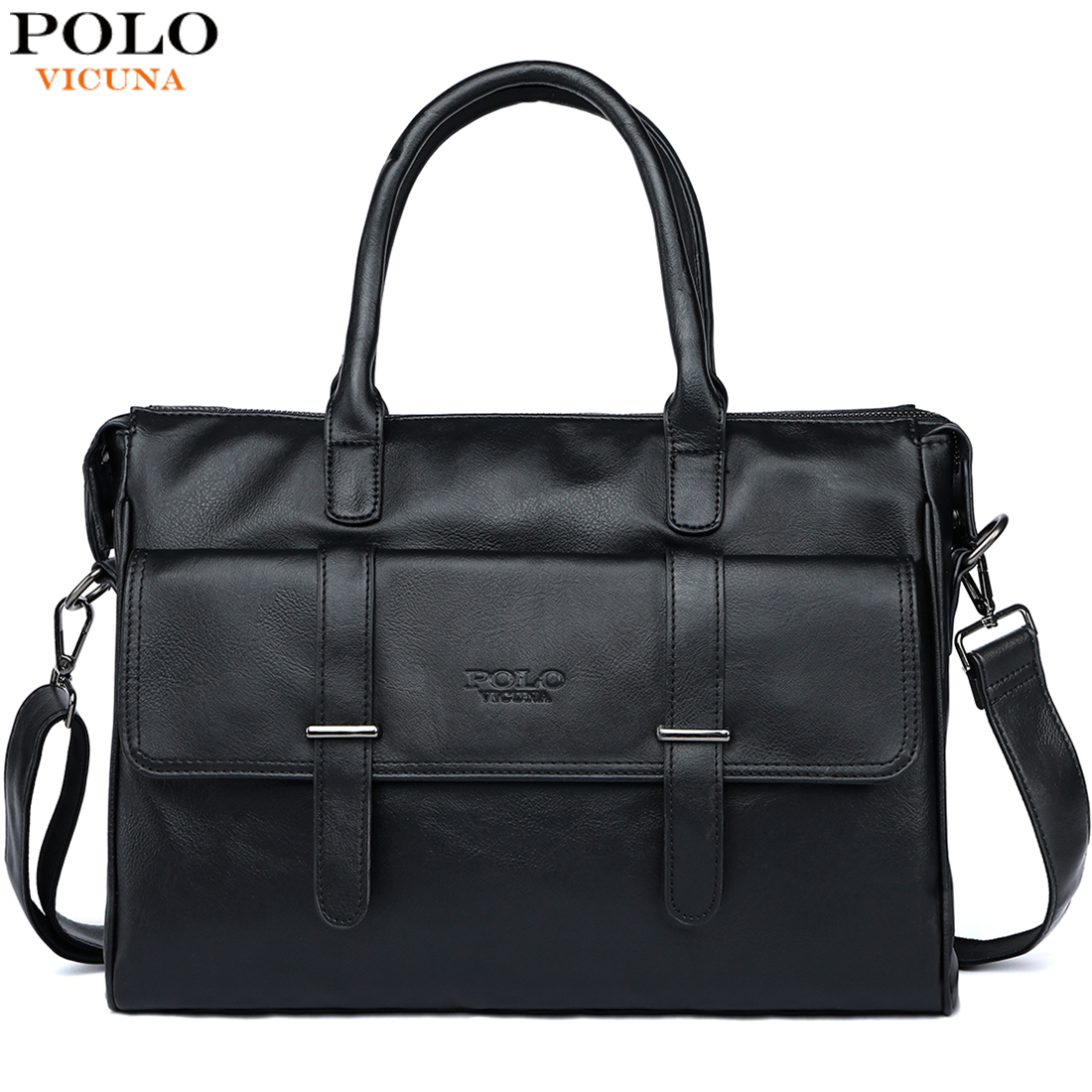 VICUNA POLO New Black Leather Famous Brand Business Men Briefcase For Documents Bag Casual Large Capacity Travel Man Handbags(China)