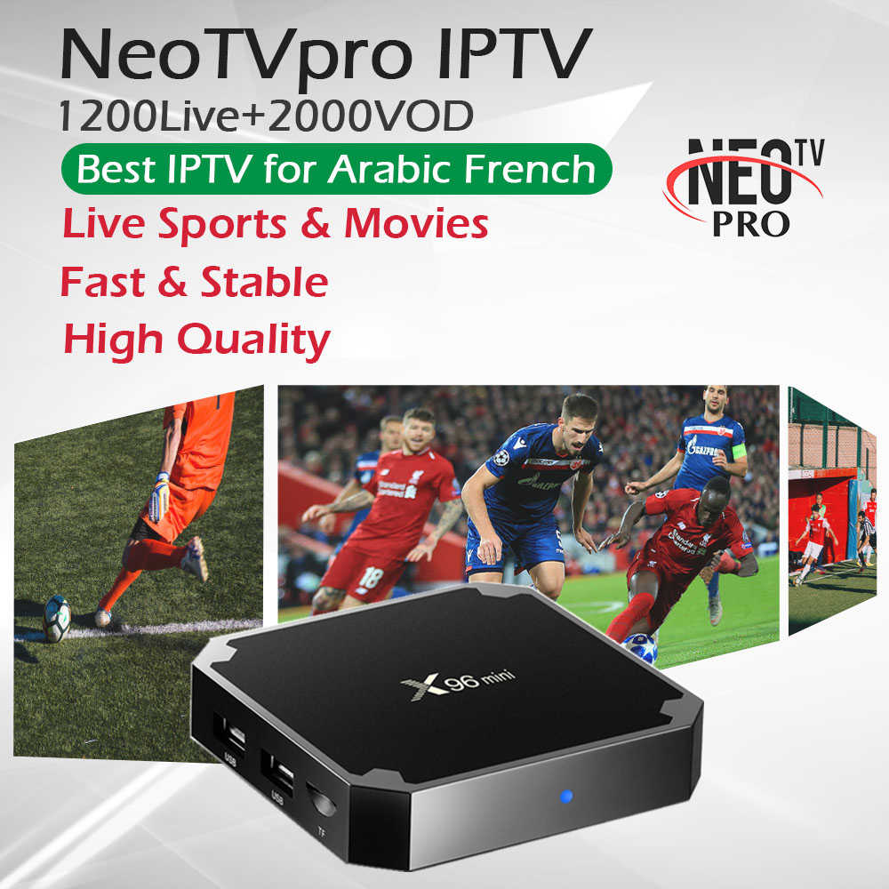 X96Mini Android 7,1 tv box + 1 год Neo tv Франция Арабский Ip tv 1G 8G и 2G 16G Amlogic S905W четырехъядерный WiFi 4 K Live + Vod смарт-приставка