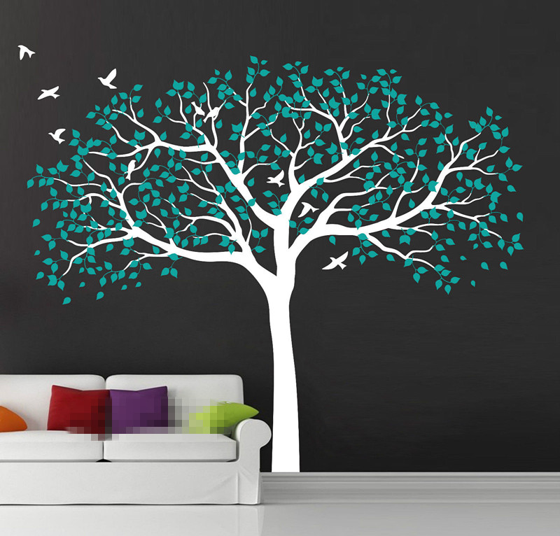 210*250cm Large Nursery Tree Wall Stickers Vinyl Decal Art Mural Removable TV Background Stickers Muraux Wallpaper Mural D472