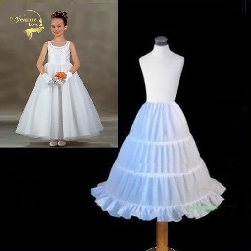 New White Children Petticoat 2018 A-line 3 Hoops Kids Crinoline Bridal Underskirt Wedding Accessories For Flower Girl Dress 6629