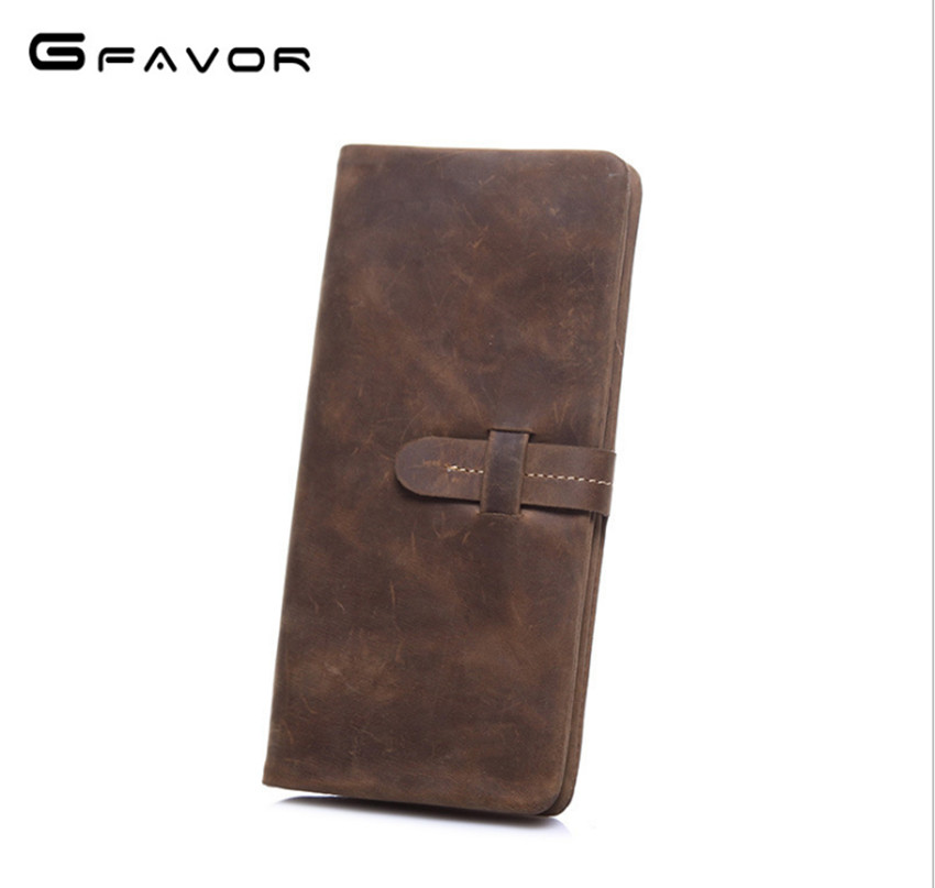 Luxury Brand 100% Genuine Cowhide Leather Portomonee Vintage Walet Male Wallet Men Long Clutch with Coin Purse Pocket Rfid стоимость