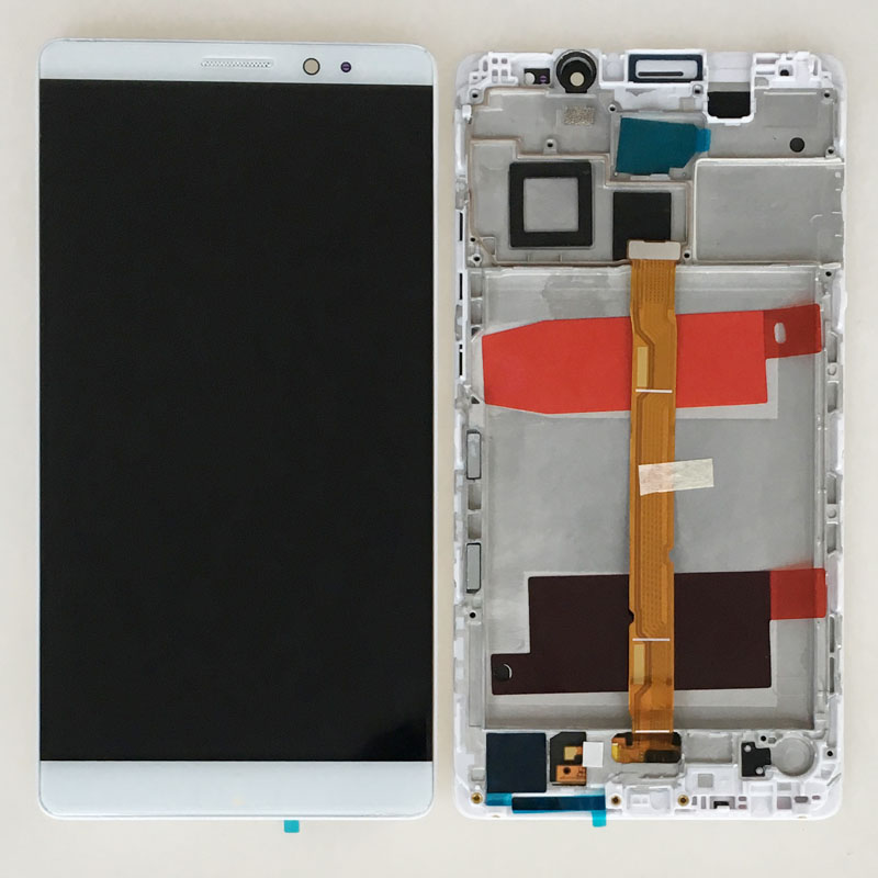 White 6 LCD Display Touch Digitizer Screen Assembly +Frame For Huawei Ascend Mate 8 NXT-L00 L10 L09 Replacement 6 lcd display screen touch glass digitizer assembly for huawei ascend mate 8 mate8 white gold free shipping