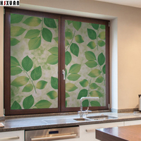 Privacy Decorative Window Insulation Film 50x100cm Green Leaf Pvc Self Adhesive Glue Stained Window Stickers Hsxuan