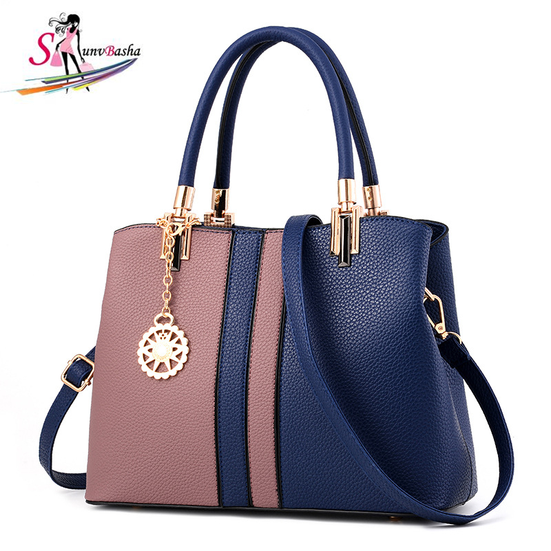 Women's handbag 2017 New retro ladies bag Europe and America fashion PU leather hit color Shoulder Messenger Bag Women's handbag 2016 new styles of leather and fashion in europe and america